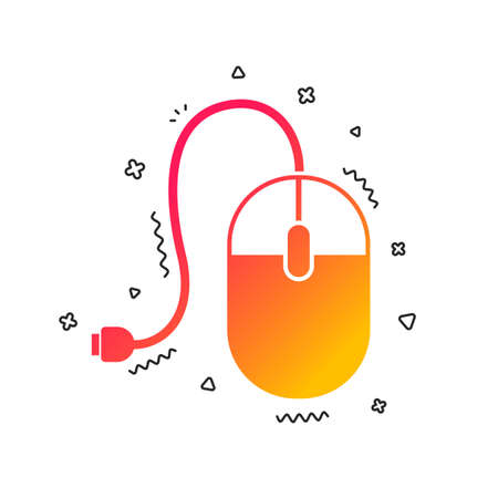 Computer mouse sign icon. Optical with wheel symbol. Colorful geometric shapes. Gradient mouse icon design.  Vector