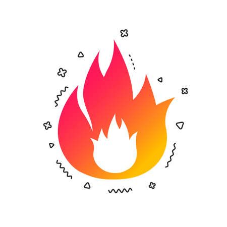 Fire flame sign icon. Fire symbol. Stop fire. Escape from fire. Colorful geometric shapes. Gradient fire icon design.  Vector Illustration