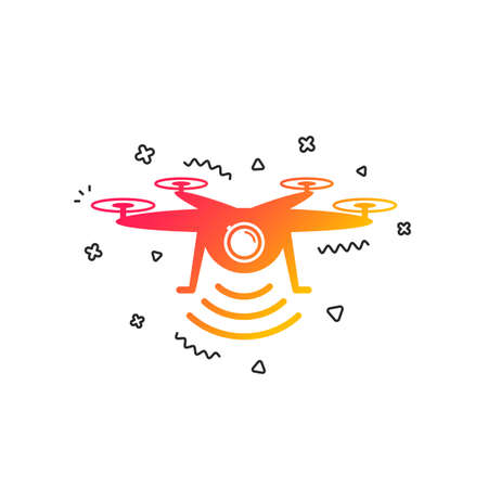 Drone icon. Quadrocopter with action camera symbol. Colorful geometric shapes. Gradient drone icon design.  Vector