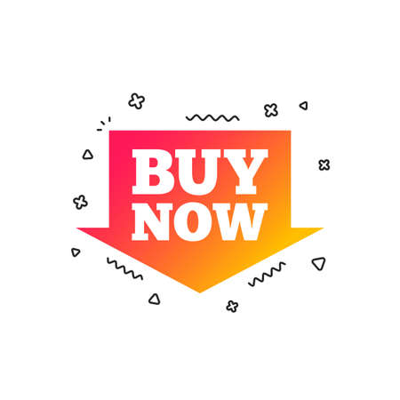 Buy now sign icon. Online buying arrow button. Colorful geometric shapes. Gradient buying icon design.  Vector Stock Vector - 112667820