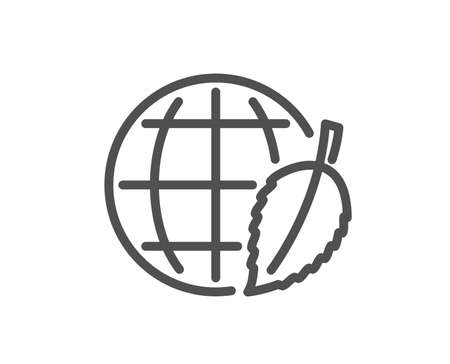 Globe with leaf line icon. World sign. Environment day symbol. Quality design flat app element. Editable stroke Environment day icon. Vector