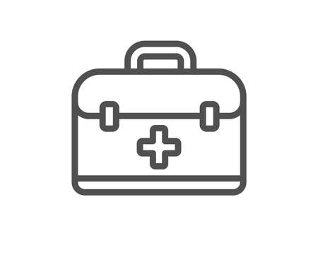 First aid kit line icon. Medical case sign. Quality design flat app element. Editable stroke First aid icon. Vector Ilustracja