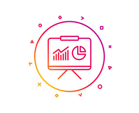 Presentation board line icon. Report chart or Sales growth sign. Analysis and Statistics data symbol. Gradient pattern line button. Presentation icon design. Geometric shapes. Vector
