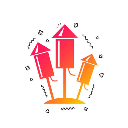 Fireworks rockets sign icon. Explosive pyrotechnic device symbol. Colorful geometric shapes. Gradient fireworks icon design.  Vector Illustration