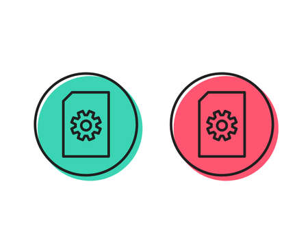 Document Management line icon. Information File with Cogwheel sign. Paper page concept symbol. Positive and negative circle buttons concept. Good or bad symbols. File Management Vector