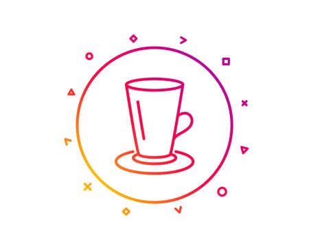 Cup of Tea line icon. Fresh beverage sign. Latte or Coffee symbol. Gradient pattern line button. Teacup icon design. Geometric shapes. Vector Illustration