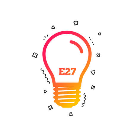 Light bulb icon. Lamp E27 screw socket symbol. Led light sign. Colorful geometric shapes. Gradient E27 lamp icon design.  Vector