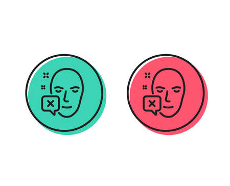 Face declined line icon. Human profile sign. Facial identification error symbol. Positive and negative circle buttons concept. Good or bad symbols. Face declined Vector
