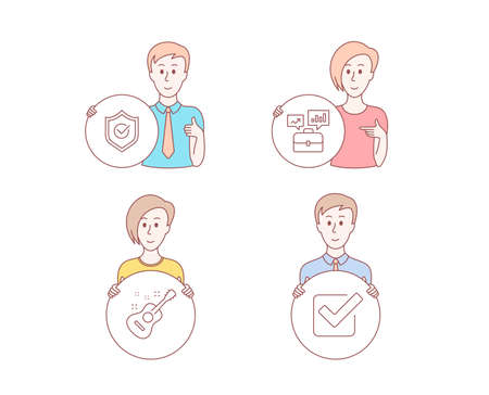 People hand drawn style. Set of Business portfolio, Approved shield and Guitar icons. Checkbox sign. Job interview, Protection, Acoustic instrument. Approved tick.  Character hold circle button Illustration