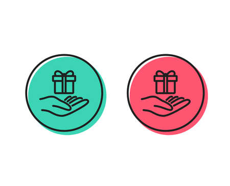 Loyalty program line icon. Gift box sign. Present symbol. Positive and negative circle buttons concept. Good or bad symbols. Loyalty program Vector