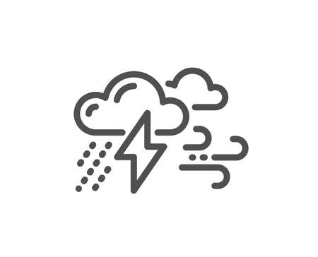 Clouds with raindrops, lightning, wind line icon. Bad weather sign. Quality design flat app element. Editable stroke Bad weather icon. Vector Illustration