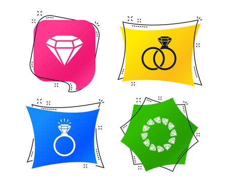 Rings icons. Jewelry with shine diamond signs. Wedding or engagement symbols. Geometric colorful tags. Banners with flat icons. Trendy design. Vector Illustration