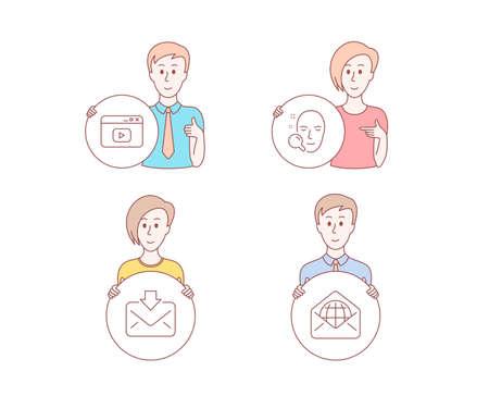 Style dessiné à la main des gens. Ensemble d'icônes de courrier entrant, de contenu vidéo et de recherche de visage. Signe de messagerie Web. Télécharger le message, fenêtre du navigateur, rechercher un utilisateur. Communication mondiale. Bouton de cercle de maintien de caractère