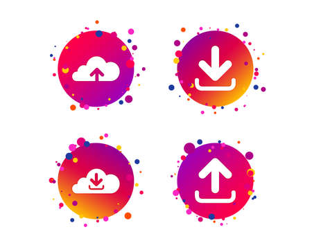 Download now icon. Upload from cloud symbols. Receive data from a remote storage signs. Gradient circle buttons with icons. Random dots design. Vector