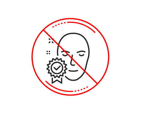 No or stop sign. Face verified line icon. Access granted sign. Facial identification success symbol. Caution prohibited ban stop symbol. No  icon design.  Vector Reklamní fotografie - 112669717