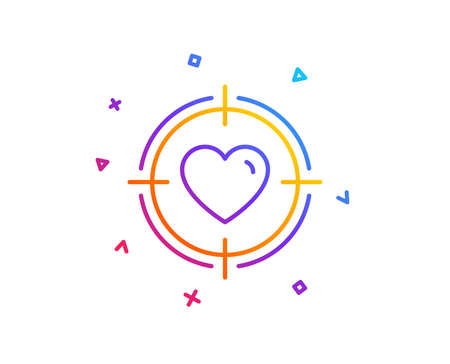 Heart in Target aim line icon. Love dating symbol. Valentines day sign. Gradient line button. Valentine target icon design. Colorful geometric shapes. Vector