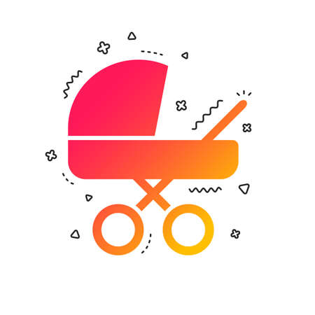 Baby pram stroller sign icon. Baby buggy. Baby carriage symbol. Colorful geometric shapes. Gradient carriage icon design.  Vector