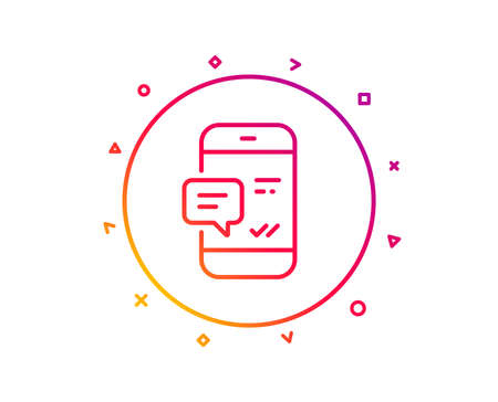 Phone Message line icon. Mobile chat sign. Conversation or SMS symbol. Gradient pattern line button. Smartphone notification icon design. Geometric shapes. Vector