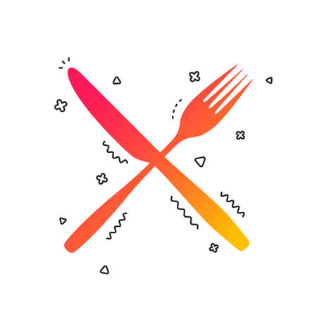 Eat sign icon. Cutlery symbol. Fork and knife crosswise. Colorful geometric shapes. Gradient fork icon design.  Vector Banque d'images - 112669728