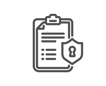 Checklist line icon. Privacy policy document sign. Quality design flat app element. Editable stroke Privacy policy icon. Vector Çizim