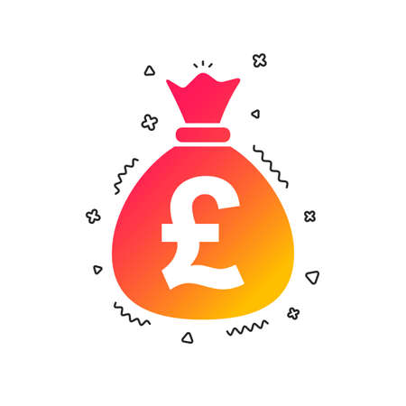 Money bag sign icon. Pound GBP currency symbol. Colorful geometric shapes. Gradient money icon design.  Vector