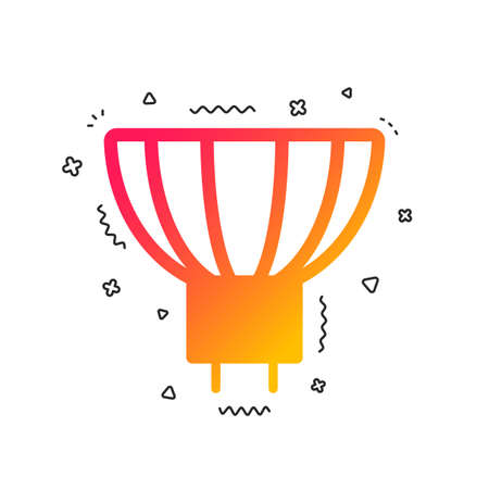 Light bulb icon. Lamp GU5.3 socket symbol. Led or halogen light sign. Colorful geometric shapes. Gradient GU5.3 lamp icon design.  Vector Ilustração