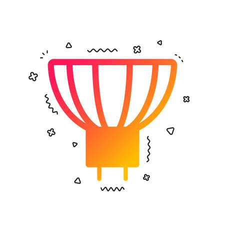 Light bulb icon. Lamp GU5.3 socket symbol. Led or halogen light sign. Colorful geometric shapes. Gradient GU5.3 lamp icon design.  Vector Illustration