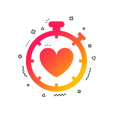Heart Timer sign icon. Stopwatch symbol. Heartbeat palpitation. Colorful geometric shapes. Gradient timer icon design.  Vector