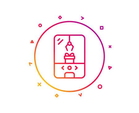 Crane claw machine line icon. Amusement park sign. Carousels symbol. Gradient pattern line button. Crane claw machine icon design. Geometric shapes. Vector