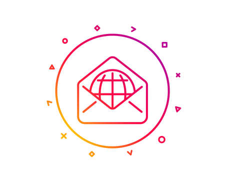 Web Mail line icon. Message correspondence sign. E-mail symbol. Gradient pattern line button. Web Mail icon design. Geometric shapes. Vector