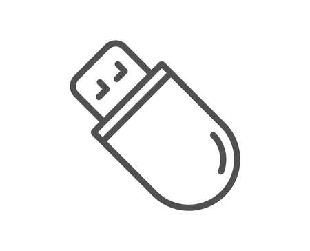 Usb stick line icon. Computer memory component sign. Data storage symbol. Quality design flat app element. Editable stroke Usb stick icon. Vector