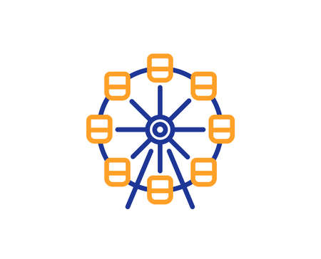 Ferris wheel line icon. Amusement park sign. Carousels symbol. Colorful outline concept. Blue and orange thin line color icon. Ferris wheel Vector