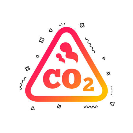 CO2 carbon dioxide formula sign icon. Chemistry symbol. Colorful geometric shapes. Gradient carbon icon design.  Vector