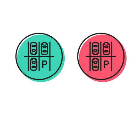 Parking place line icon. Car park sign. Transport symbol. Positive and negative circle buttons concept. Good or bad symbols. Parking place Vector