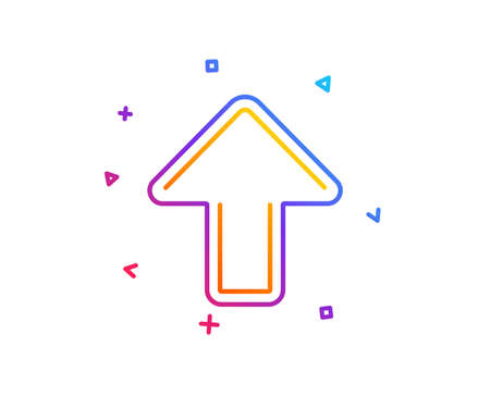 Upload arrow line icon. Direction Arrowhead symbol. Navigation pointer sign. Gradient line button. Upload icon design. Colorful geometric shapes. Vector
