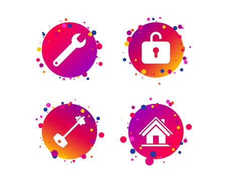 Home key icon. Wrench service tool symbol. Locker sign. Main page web navigation. Gradient circle buttons with icons. Random dots design. Vector