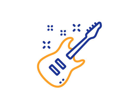 Electric guitar line icon. Music sign. Musical instrument symbol. Colorful outline concept. Blue and orange thin line color icon. Electric Guitar Vector Illustration