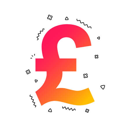 Pound sign icon. GBP currency symbol. Money label. Colorful geometric shapes. Gradient pound icon design.  Vector 写真素材 - 112669923