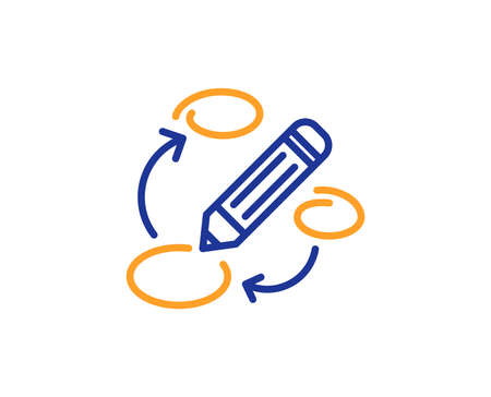 Keywords line icon. Pencil symbol. Marketing strategy sign. Colorful outline concept. Blue and orange thin line color icon. Keywords Vector  イラスト・ベクター素材