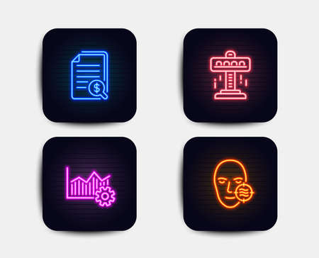 Neon set of Attraction, Financial documents and Operational excellence icons. Problem skin sign. Free fall, Check docs, Corporate business. Facial care. Neon icons. Glowing light banners