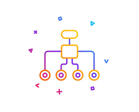 Restructuring line icon. Business architecture sign. Delegate symbol. Gradient line button. Restructuring icon design. Colorful geometric shapes. Vector