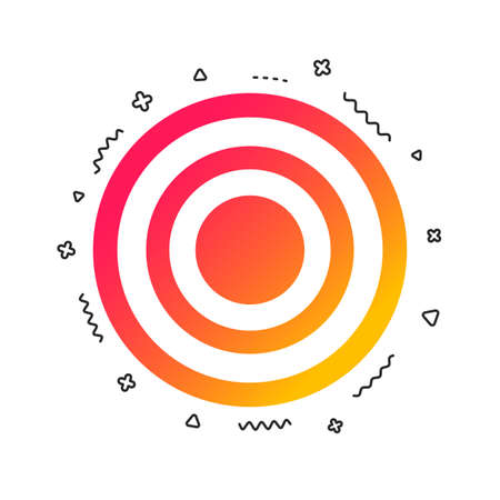 Target aim sign icon. Darts board symbol. Colorful geometric shapes. Gradient target icon design.  Vector 向量圖像