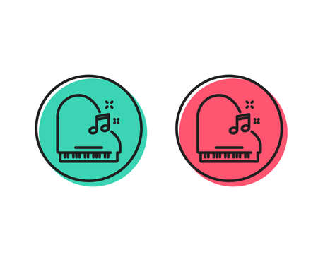 Piano line icon. Musical instrument sign. Music note symbol. Positive and negative circle buttons concept. Good or bad symbols. Piano Vector