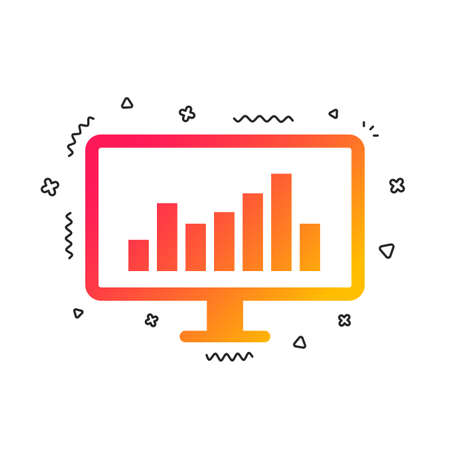 Computer monitor sign icon. Market monitoring. Colorful geometric shapes. Gradient monitor icon design.  Vector Illustration