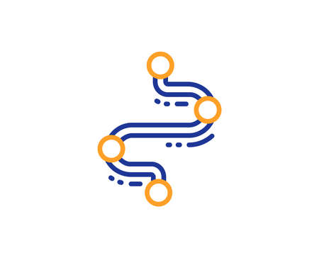 Timeline line icon. Project process, journey path sign. Colorful outline concept. Blue and orange thin line color Timeline icon. Vector