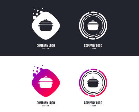 Logotype concept. Cooking pan sign icon. Boil or stew food symbol. Logo design. Colorful buttons with icons. Vector