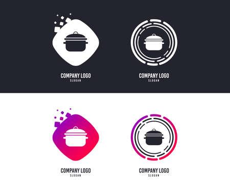 Notion de logotype. Icône de signe de casserole de cuisson. Faire bouillir ou mijoter le symbole de la nourriture. Conception de logos. Boutons colorés avec des icônes. Vecteur Logo