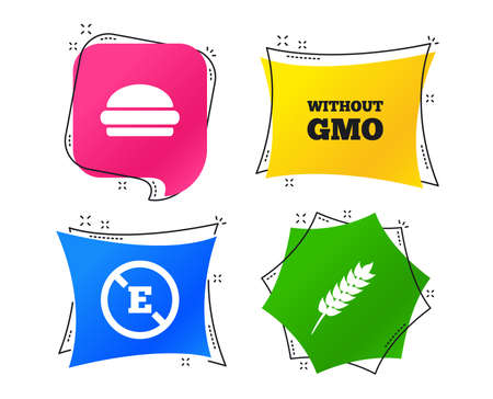 Food additive icon. Hamburger fast food sign. Gluten free and No GMO symbols. Without E acid stabilizers. Geometric colorful tags. Banners with flat icons. Trendy design. Vector