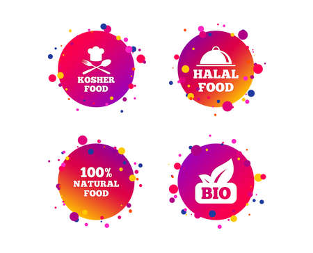 100% Natural Bio food icons. Halal and Kosher signs. Chief hat with fork and spoon symbol. Gradient circle buttons with icons. Random dots design. Vector