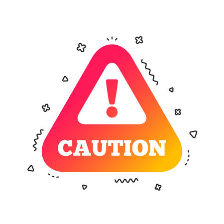 Attention caution sign icon. Exclamation mark. Hazard warning symbol. Colorful geometric shapes. Gradient caution icon design.  Vector Иллюстрация